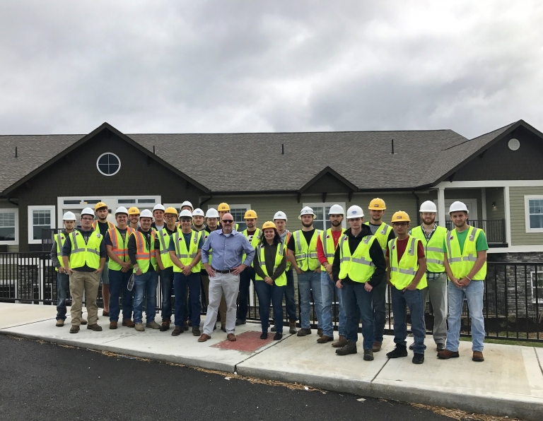 EKU Construction Management students on site at The Dominion of Richmond