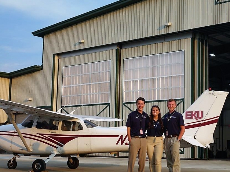 EKU Aviation Student with EKU plane