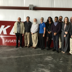 EKU Aviation scholarship recipients and their benefactors in the new hangar